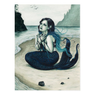 Hilflos traurige Meerjungfrau-Postkarte Postkarte