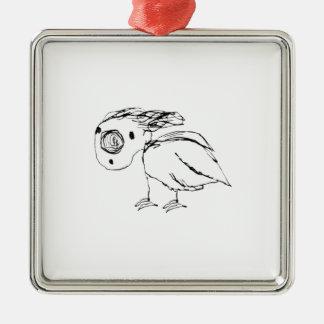 Hilflose Vogel-Skizze oben Silbernes Ornament