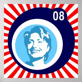 Hillary Clinton: blaue Blasen u. rote Strahlen: Poster