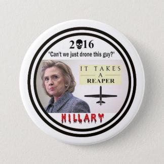 Hillary Clinton: Kriegsverbrecher Runder Button 7,6 Cm