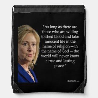 Hillary Clintonblut-/-friedenszitat-Rucksack Turnbeutel