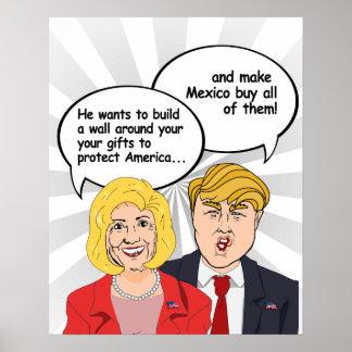 Hillary gegen Trumpf-Geburtstags-Karte - eine Wand Poster