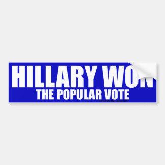 Hillary gewann Autoaufkleber