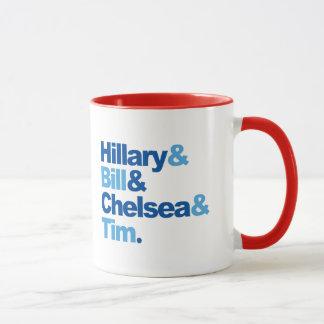 Hillary und Bill und Chelsea und Tim Tasse