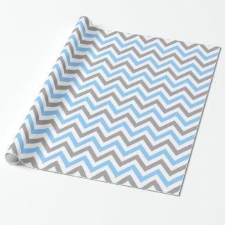 Himmel-Blau, graues weißes großes Zickzack Geschenkpapier