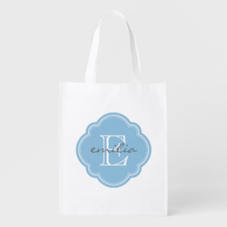 Himmel-Blau Quatrefoil Gewohnheits-Monogramm Wiederverwendbare Einkaufstasche
