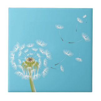 Himmel-Blaulöwenzahnblumennatur Keramikfliese