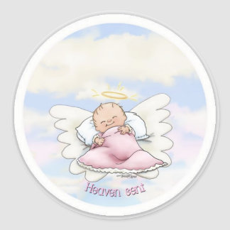 Himmel gesendet - Engels-Baby Runder Aufkleber
