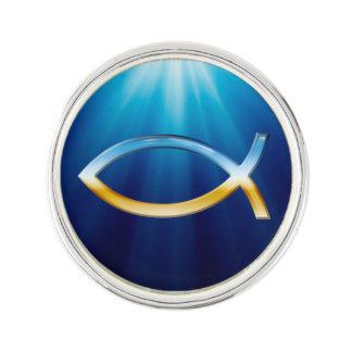 Himmel u. Boden Ichthus christliches Symbol Anstecknadel