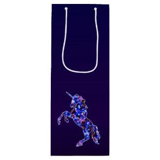 Himmelbild des blauen schönen Einhorns der Galaxie Geschenktüte Für Weinflaschen