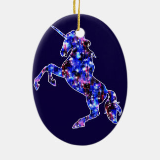 Himmelbild des blauen schönen Einhorns der Galaxie Keramik Ornament