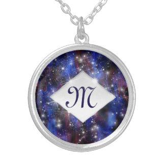 Himmelmonogramm der Galaxie starry lila schöne Versilberte Kette