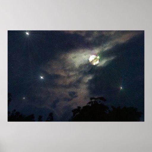 Himmels-Mond spielt Photograhy Druck die Hauptroll Plakate
