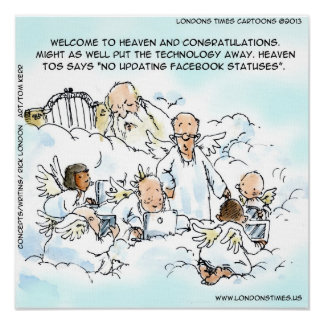 Himmlische Sozialmedien lustig Poster