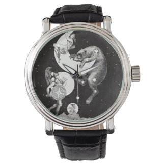 Himmlische Stern-Himmel-Mond-Illustrations-Grafik Uhr