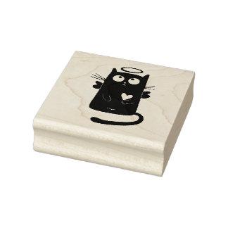 Himmlischer Cartoon der schwarzen Katze Gummistempel