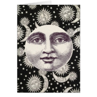 Himmlischer Schwarzweiss-Mond Notecard Karte