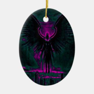 Himmlischer Wächter lila und aquamarin Keramik Ornament