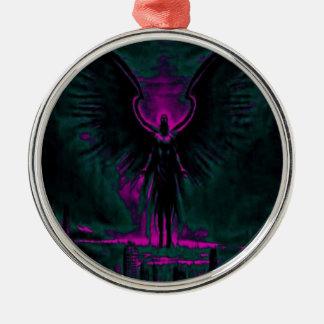 Himmlischer Wächter lila und aquamarin Silbernes Ornament