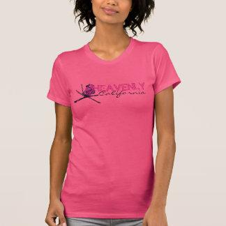 Himmlisches Kalifornien rosa schwarzes T-Shirt