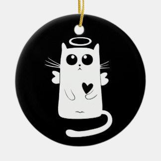 Himmlisches Miezekatze-Weiß Rundes Keramik Ornament