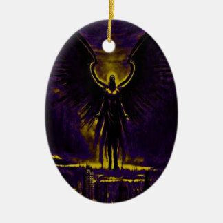 Himmlisches Wächter-Gelb und lila Keramik Ornament