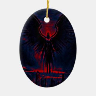 Himmlisches Wächter-Rot und Blau Keramik Ornament