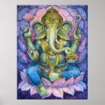 Hindisches Kunst-Plakat Lotuss Ganesha