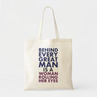 Hinter jedem großen Mann ist eine Frau die ihre Leinentaschen