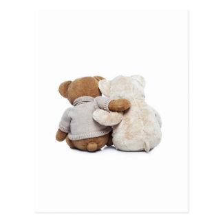 Hintere Ansicht von zwei Teddybären, die sich Postkarte