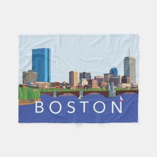 Hintere Bucht-Boston-Skyline-Computer-Illustration Fleecedecke