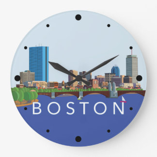Hintere Bucht-Boston-Skyline-Computer-Illustration Große Wanduhr