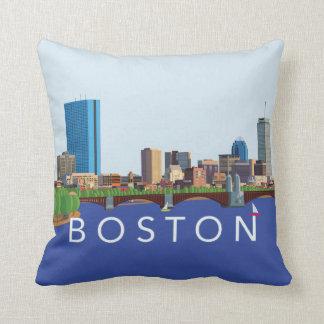Hintere Bucht-Boston-Skyline-Computer-Illustration Kissen
