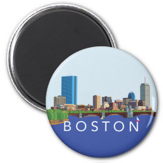 Hintere Bucht-Boston-Skyline-Computer-Illustration Runder Magnet 5,7 Cm