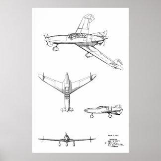 Hintere Flugzeug-Patent-Kunst der Stütze-1946, die Poster