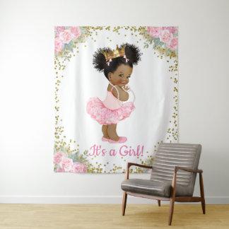 Hintergrund Afroamerikaner-Prinzessin-Babyparty Wandteppich