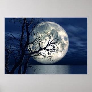 Hintergrund der Landschaft3d mit Mond über dem Poster