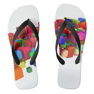 Hintergrund-Entwurf mit bunten Regenbogen-Blöcken Flip Flops