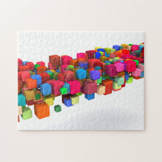 Hintergrund-Entwurf mit bunten Regenbogen-Blöcken Puzzle