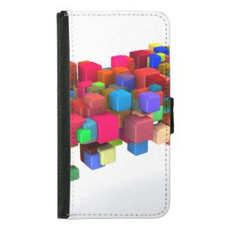 Hintergrund-Entwurf mit bunten Regenbogen-Blöcken Samsung Galaxy S5 Geldbeutel Hülle