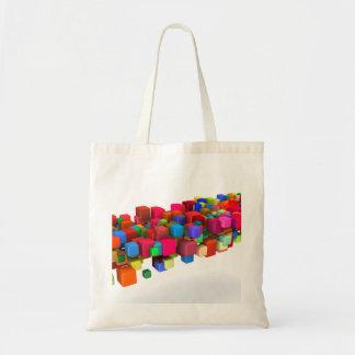 Hintergrund-Entwurf mit bunten Regenbogen-Blöcken Tragetasche
