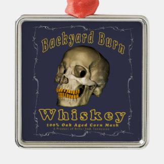 Hinterhof-Brand-Whisky Quadratisches Silberfarbenes Ornament