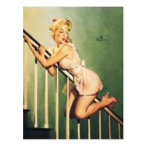 Hinunter die Treppe - Retro Pin-up-Girl Postkarten