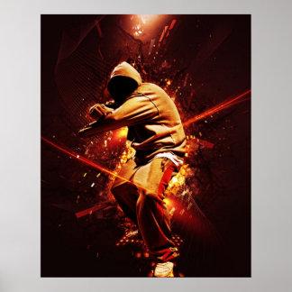 Hip-Hop breakdancer auf Feuer Poster