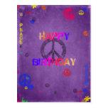 Hippie-alles- Gute zum Geburtstagpostkarte in Lila Postkarte