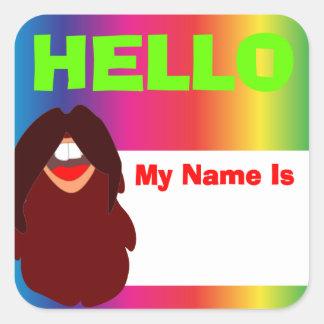 Hippie-Bart-Regenbogen-Namensschild Quadratischer Aufkleber
