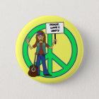 Hippie-FriedensLiebe und -einheit Runder Button 5,1 Cm