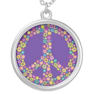 Hippie-Friedenszeichen-Symbol-Silber überzogene Versilberte Kette