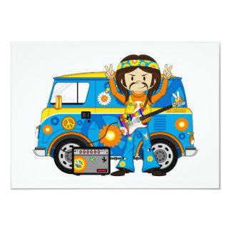Hippie-Junge mit Gitarre und Reisemobil 8,9 X 12,7 Cm Einladungskarte