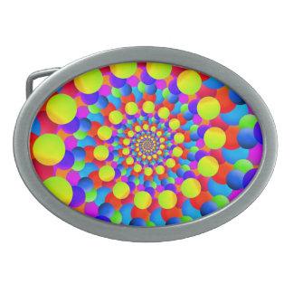 Hippie-Kunst-Regenbogen-Spirale-Fraktal Ovale Gürtelschnalle